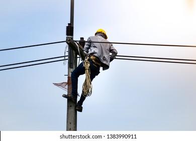 Man Climbing Pole Images, Stock Photos & Vectors | Shutterstock