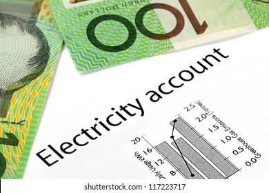 Electricity account showing increasing usage and greenhouse gas emissions, with Australian one hundred dollar bills.