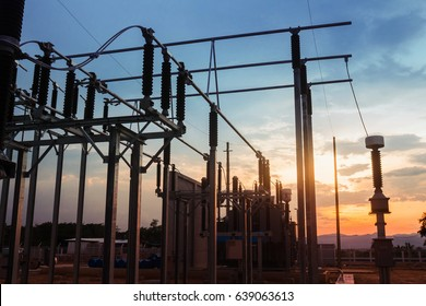 Electricity Authority Station, power plant, energy concept, evening sky