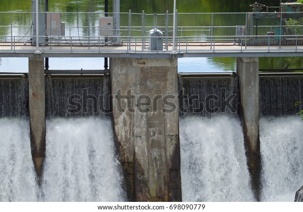 electricity barrage waterfall hydroelectricity powerstation water river fall