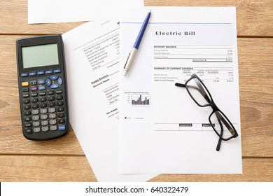Electricity bill charges paper form on the table