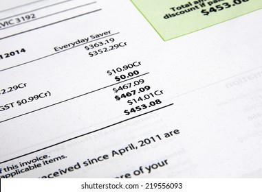 electricity bill closeup