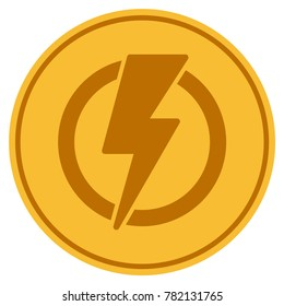 Electricity golden coin icon. Raster style is a gold yellow flat coin symbol.