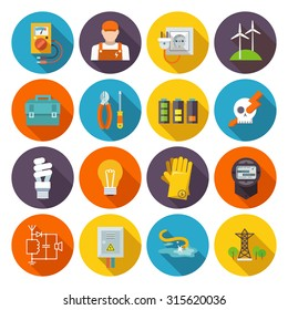 Electricity icon flat set with electric energy power equipment test toolbox isolated  illustration