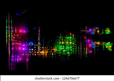 Electricity lights moving at night light painting