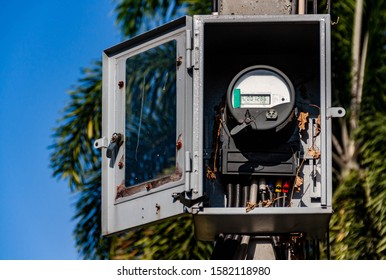 Electricity meter, in the box on the concrete pole, power, measurement values