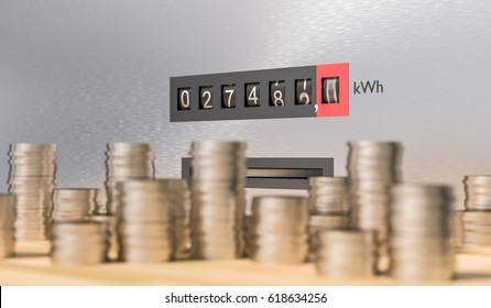 Electricity meter with many coins. Expensive energy and power consumption concept. 3D rendered illustration.