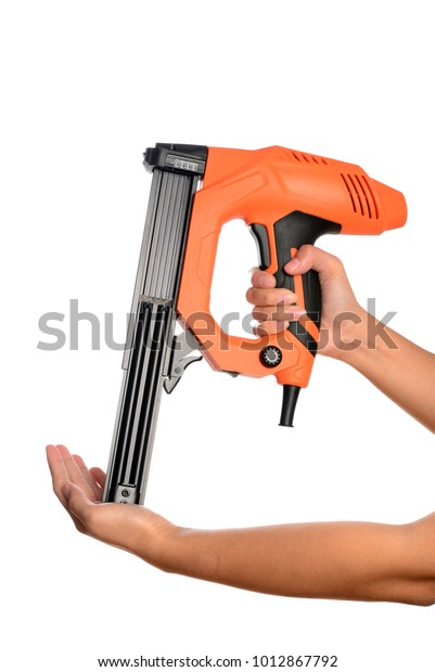 Electricity Nail Gun Isolated On White Stock Photo (Edit Now