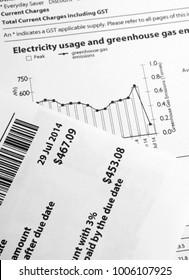Electricity paper bill closeup