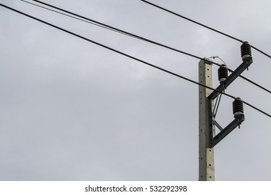 Electricity pillar with sky blackground