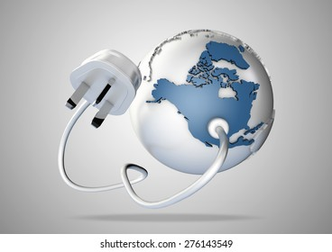 Electricity plug and cable connects to north America on world globe. Concept for how earth relies on electricity and power.