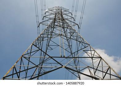 Electricity pole with blue sky background