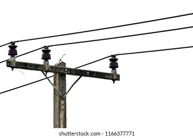 electricity pole and cable line isolated on white background