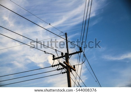 Electricity Pole Front House Stock Photo Edit Now 544008376. Electricity Pole In Front Of The House. Wiring. Wiring Pole From The House At Scoala.co