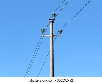 Electricity pole old rusty electric line simple connection