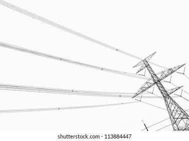 Electricity pole over white background