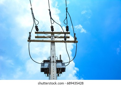 Electricity pole and electricity wire to distribute electricity to anywhere , connecting concept.