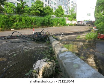 Electricity poles fall because of storms.