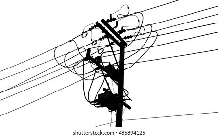 Electricity poles isolated on white.