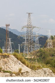 Electricity poles on a mountain area
