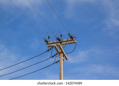 electricity post in blue sky background