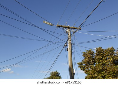 Electricity Post with Cable Lines