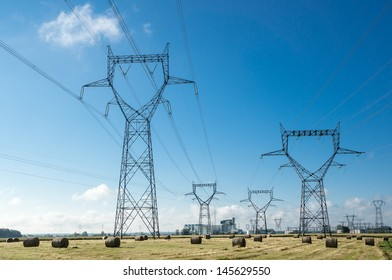 Electricity posts near a power plant in france