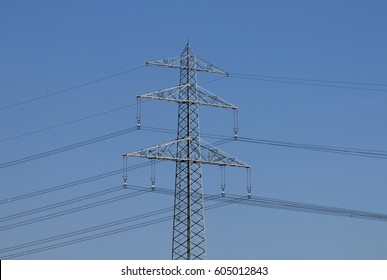 Electricity pylon with high voltage power lines