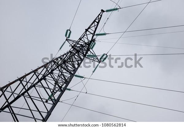 Electricity Pylon Pole Post Shot Ground Stock Photo (Edit