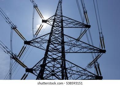 ELECTRICITY PYLON SILHOUETTE EGGBOROUGH POWER STATION YORKSHIRE ENGLAND
