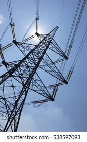 ELECTRICITY PYLON IN SILHOUETTE EGGBOROUGH POWER STATION YORKSHIRE ENGLAND