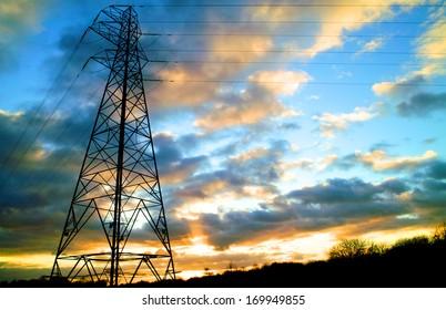 Electricity Pylon - UK standard overhead power line transmission tower