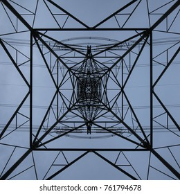 Electricity pylon viewed from below