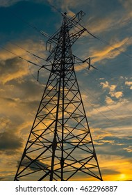 electricity pylons lines and a beautiful sunset sky