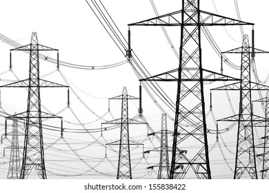 electricity pylons on white