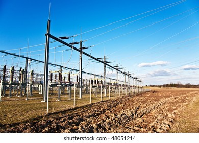 electricity relay station with high-voltage insulator and power lines