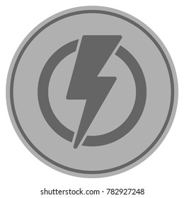 Electricity silver coin icon. Raster style is a silver gray flat coin symbol.
