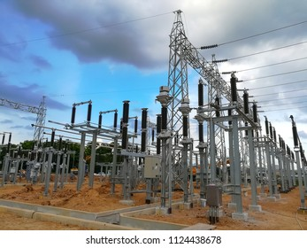 Electricity switch yard of power plant in construction phase