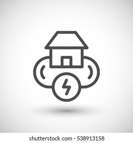 Electricity system line icon isolated on grey