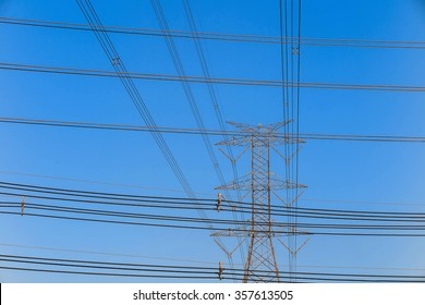 Electricity tower and electric line, power line in blue sky background
