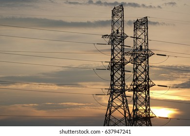 electricity tower sunset background