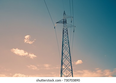 Electricity tower - Transmission tower - Power line in the sky (Urbino, Italy)