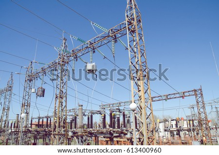 Electricity Transmission Connected Pylons Inside Electrical Stock