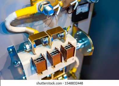 Electricity. Voltage switchboard. Power supply system. Electricity distribution cabinet. High voltage switchboard close-up. Wires for electrification. Cable product. Connecting cables to the shield.