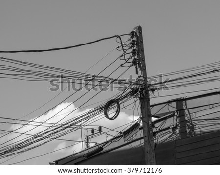 Outstanding Electricity Wire Pole Building On Sky Stock Photo Edit Now Wiring Cloud Hisonuggs Outletorg