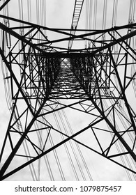 Electricty transmission in metal structure tower in monotone