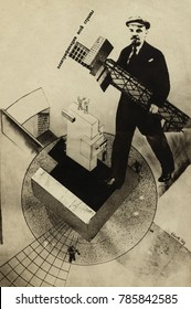 ELECTRIFICATION OF THE ENTIRE COUNTRY, 1920, by Gustav Flutsis. Bolshevik leader, Vladimir Lenin, in photomontage on the theme of building. Lenin holds scaffolding and buildings above images of modern