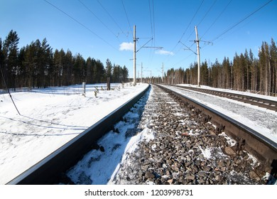 Electrified railway line among wintry forest at sunny day, close up view at rail-track