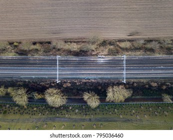Electrified train train in countryside no train aerial photo