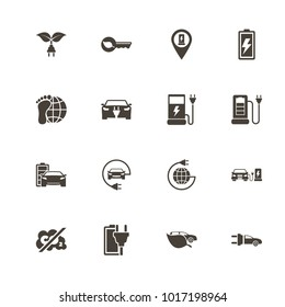 Electro Car icons. Flat Simple Icon - Gray Illustration on White Background.